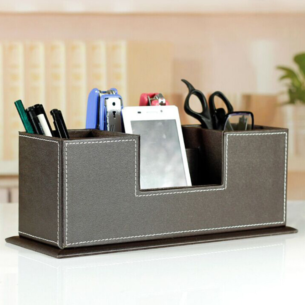 Desktop Storage Box Cosmetic Skin Care Products Leather Storage Rack