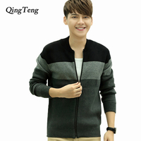 QingTeng 2017 New Arrival Winter Patchwork Sweater Men Long Sleeves Male Cardigan Zipper Knitted Sweaters Male