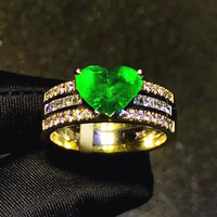 fine jewelry wholesale classic 18k yellow gold South Africa real diamond natural emerald gold ring for women wedding engagement