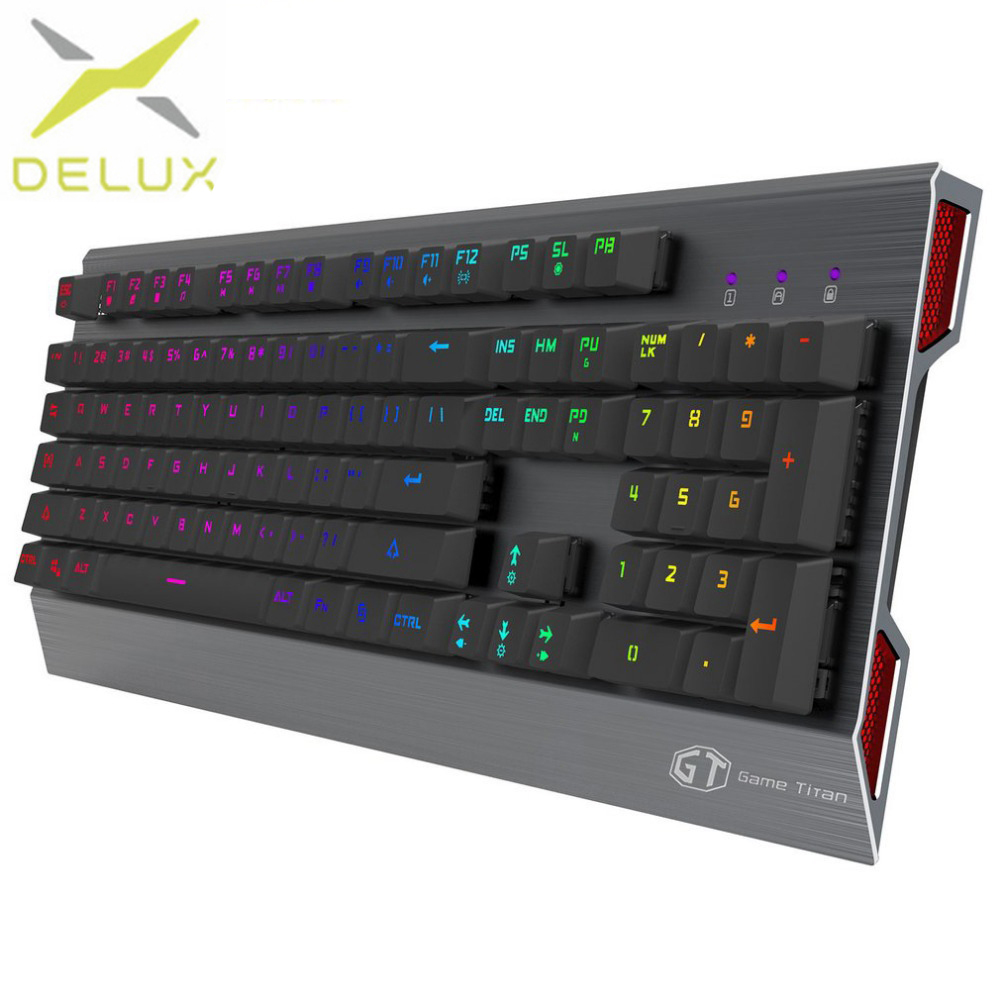 Delux KM02 RGB Version Mechanical Keyboard USB Wired Keyboard Multimedia Gaming Office For Desktop Computer Plug And Play