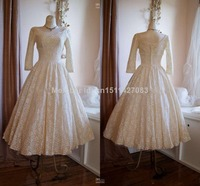 Real Imange 2015 Vintage 50s Poland Style Scoop Neck Tree Quater Tea Length Lace Classical Wedding