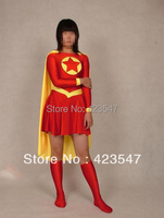 Rosso Giallo Superman Lycra Spandex Superhero Costume Halloween Party Cosplay Zentai Suit