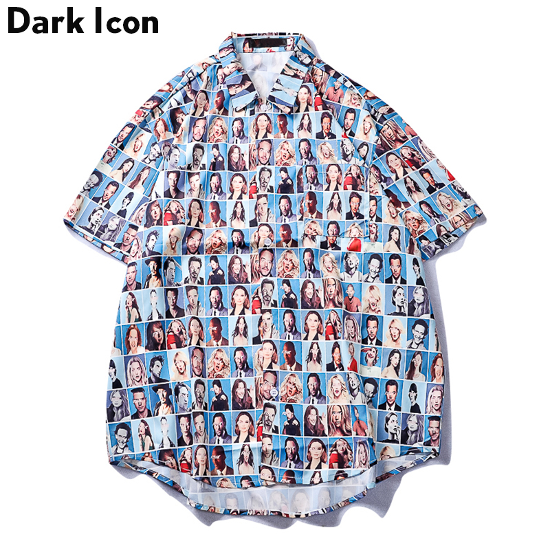 Dark Icon Character Full Printed Retro Shirt Men 2019 Summer New Fashion Hip Hop Shirts Short Sleeved Shirts For Men