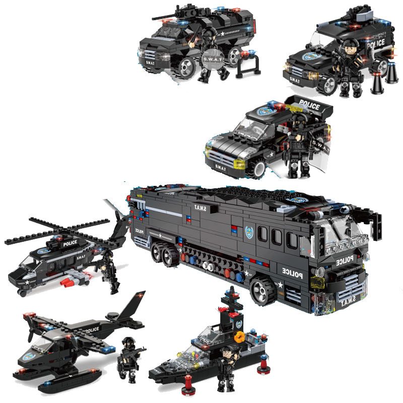 1092pcs Children's building blocks toy Compatible Legoingly city 6 in 1 mobile combat bus DIY figures Bricks boy gift-in Blocks from Toys & Hobbies    2