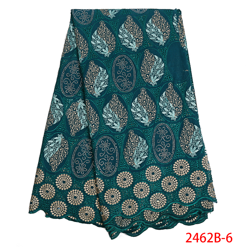 Hot Sale Swiss Voile Lace with Stones African Cotton Lace Fabric High Quality Nigerian Lace Fabric for Women Dress APW2462B-1