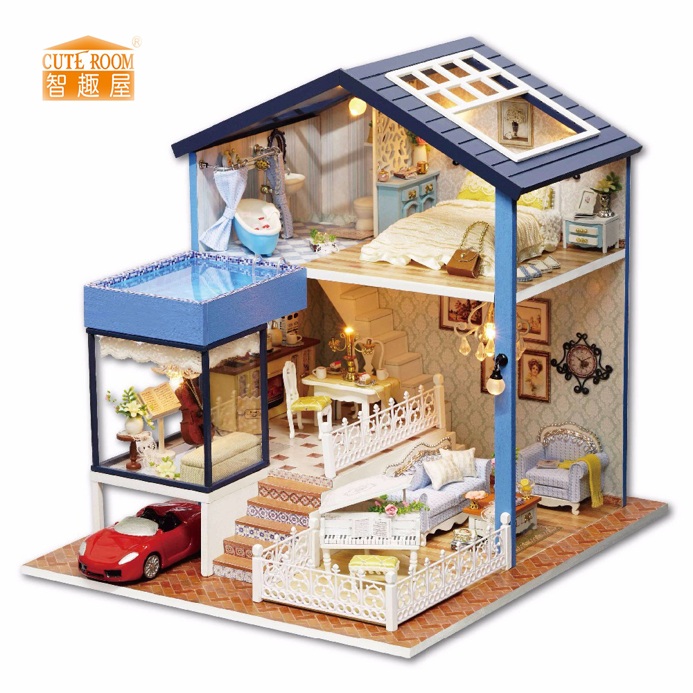 Meubles BRICOLAGE Poupée Maison Wodden Miniatura Poupée Maisons Meubles Kit DIY Puzzle Assembler Dollhouse Jouets Pour Enfants cadeau A061