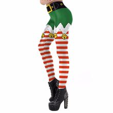 29363382d87 Christmas Leggings Women Costume Santa Cosplay Masquerade Party Dress Up  Red and White Stripe Printed Tight Leggings Adult Girls