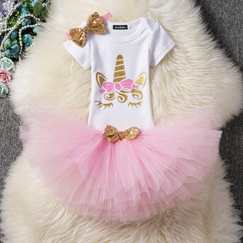 Baby Girl 1st Birthday Outfits Unicorn Party Wear For 2 Year Girls Summer Kids Dresses Infant Christening Gown Bebek Vestido