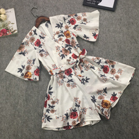 2018 Bohemian chiffon Floral Print Frilled Jumpsuit Lady Elegant Summer V neck playsuit Sexy Rompers