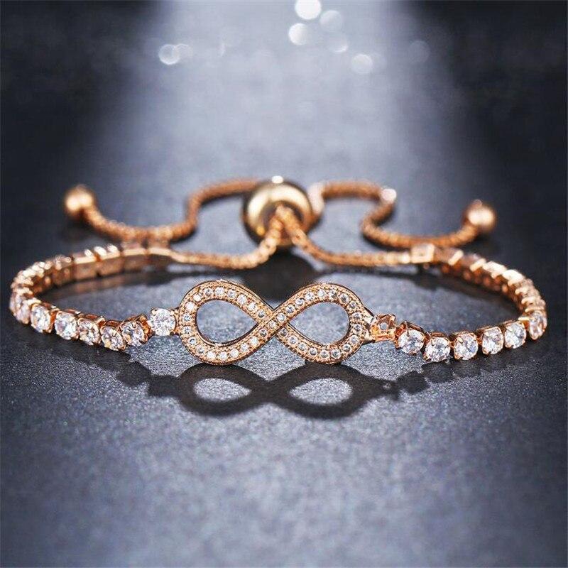 a2b43737267d1 US $0.58 25% OFF|DIEZI New Luxury Chain Bracelet For Women Rose Gold Silver  Cubic Zirconia Charm Bracelets & Bangles For Girls Wedding Jewelry-in Wrap  ...