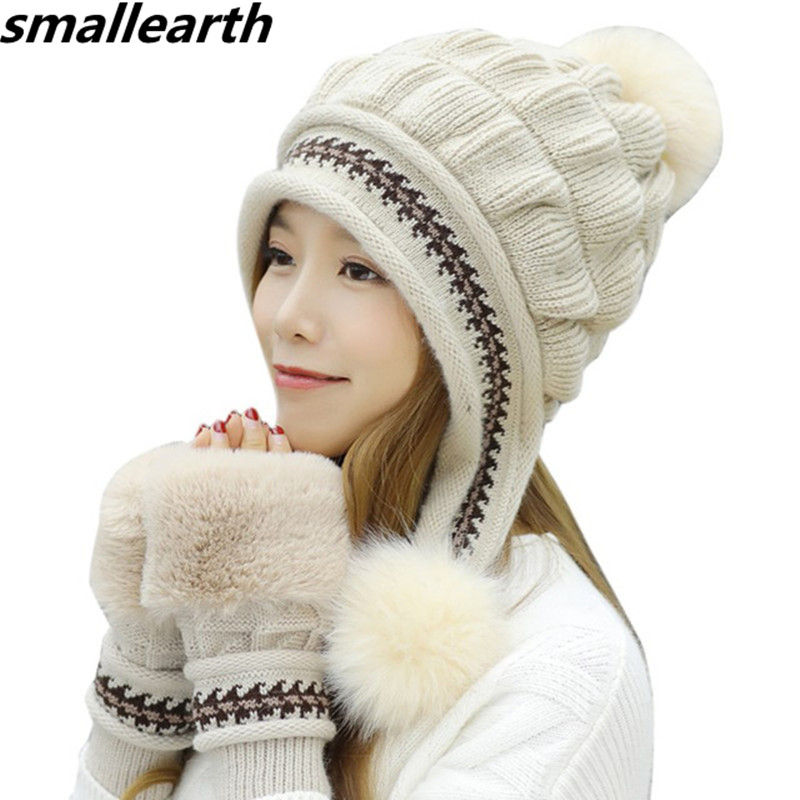 Girls   Skullies     Beanies   Thicken Ski Snow Cap New Fashion Fur PomPoms Winter Women Knitted Hats Female Warm Gloves + Knit Hat Set