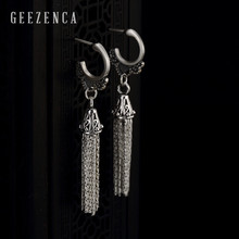 925 Sterling Silver Thai Long Chain Tassel Drop Earrings for Women Handmade Craft Vintage Dangle Earring Party Gift Trendy