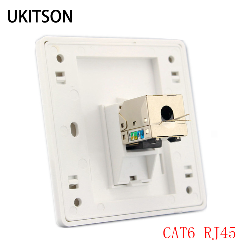 1 Port Cat 6 Rj45 Ethernet Wall Faceplate Extrusion Wire Socket 86x86mm For Xbox Networking Lan Cords