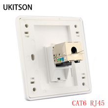 1 poort KAT 6 RJ45 Ethernet Muur Faceplate Extrusie Draad Socket 86x86mm Voor XBox Networking LAN Cords