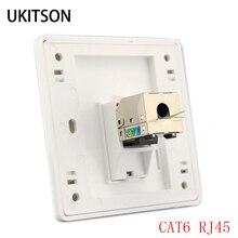 1 porta GATTO 6 RJ45 Ethernet Parete Piastra Frontale di Estrusione Filo Presa 86x86mm Per XBox di Rete LAN Fili dd Lacci