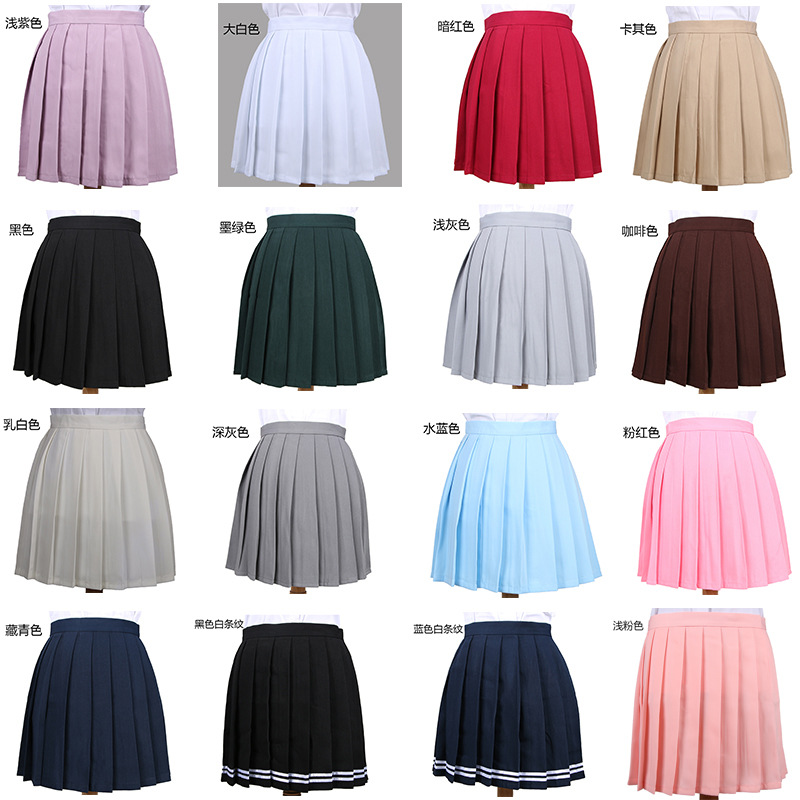 Hot Japanese Korean Version Short Skirts School Girl Pleated Half Skirt School Uniform Cosplay Student Jk Academy Ten Colors 4XL image