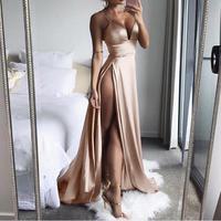 KANCOOLD dress High Split Maxi Sexy Women Solid Evening Party Dresses Clubwear Long Sleeveless dress women 2019jul31