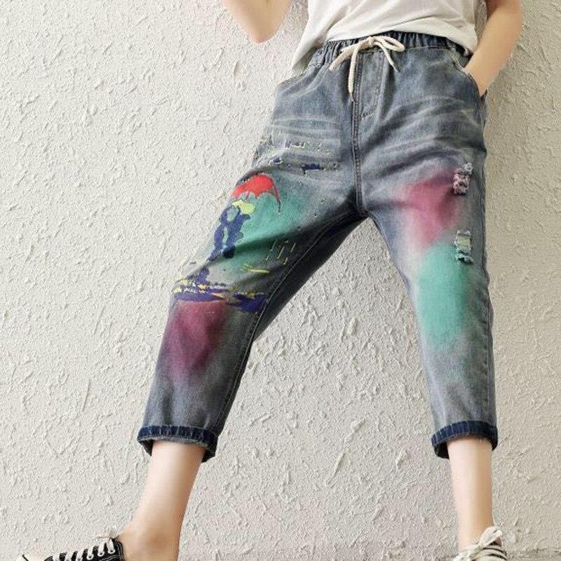 Harem Z20 Parches Agujero Nuevo Flojo Regulares Cintura Vintage 47981612 Mujer Retro Para Jeans Elástico Cordón Azj Azj Pantalones xZqBvH