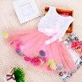 Nova verão meninas sweet vestido vestido de arco bebê aestheticism pétalas coloridas do conto de fadas vestido de chiffon princesa vestidos de bebê recém-nascido