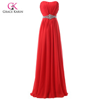 New Arrival Womens Elegant Red Bridesmaid Dress Long Chiffon Strapless Formal Party Dresses New Fashion 2015