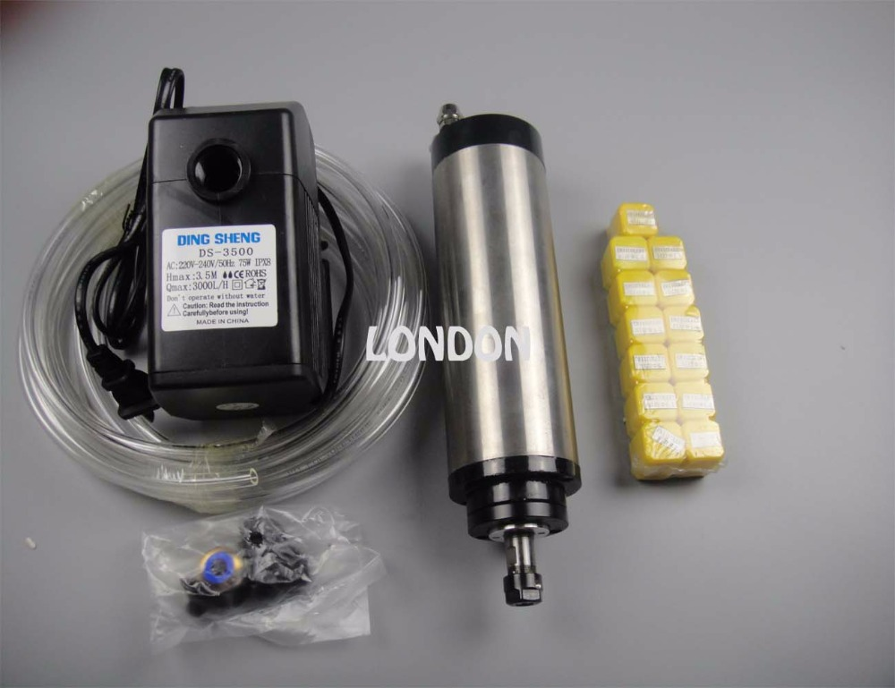 قطر ER11 80 mm 220V 24000rpm 0.8KW اسپیندل خنک کننده آب + 1 پمپ آب + 1 لوله آب + 13 قطعه کلاه های ER11