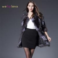 Женское пальто из натурального Лисьего меха, Серое Женское длинное пальто из натурального Лисьего меха, Женская благородная модная Роскошн