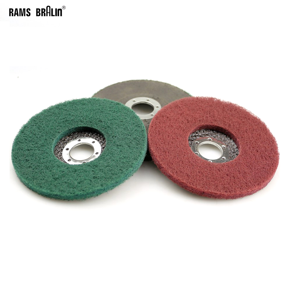 10 vienetų 125 * 8 * 22mm neaustinių atvartų šlifavimo diskų nailono šlifavimo diskas. Bulgarų kampinis šlifavimo įrankis metalo lenkų