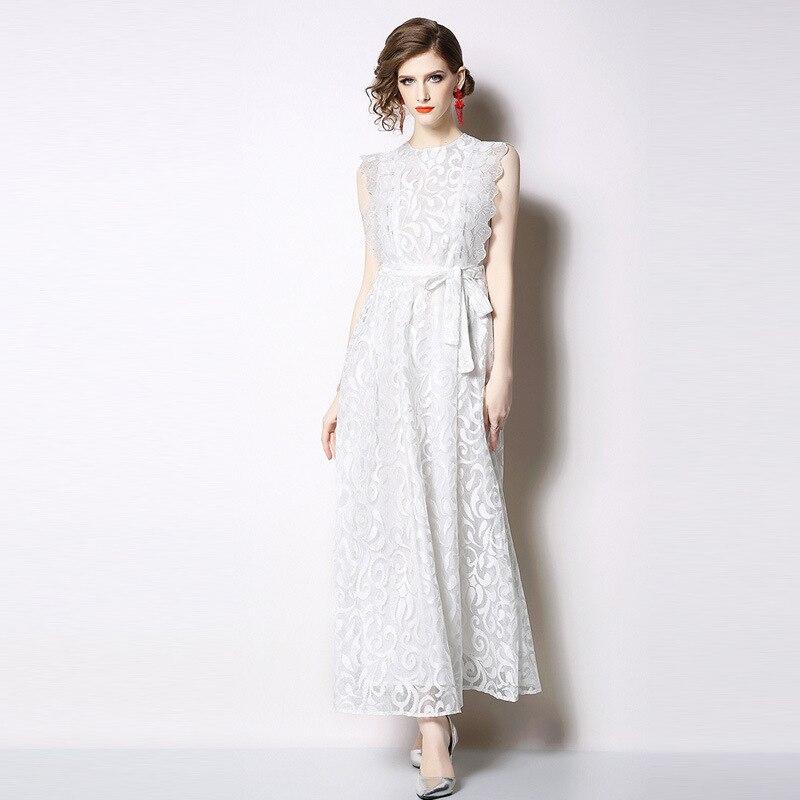 ARiby Female Summer Women Dress Temperament Elegant Fairy Fashion Lace Solid Sleeveless Slim White Black Long O-neck