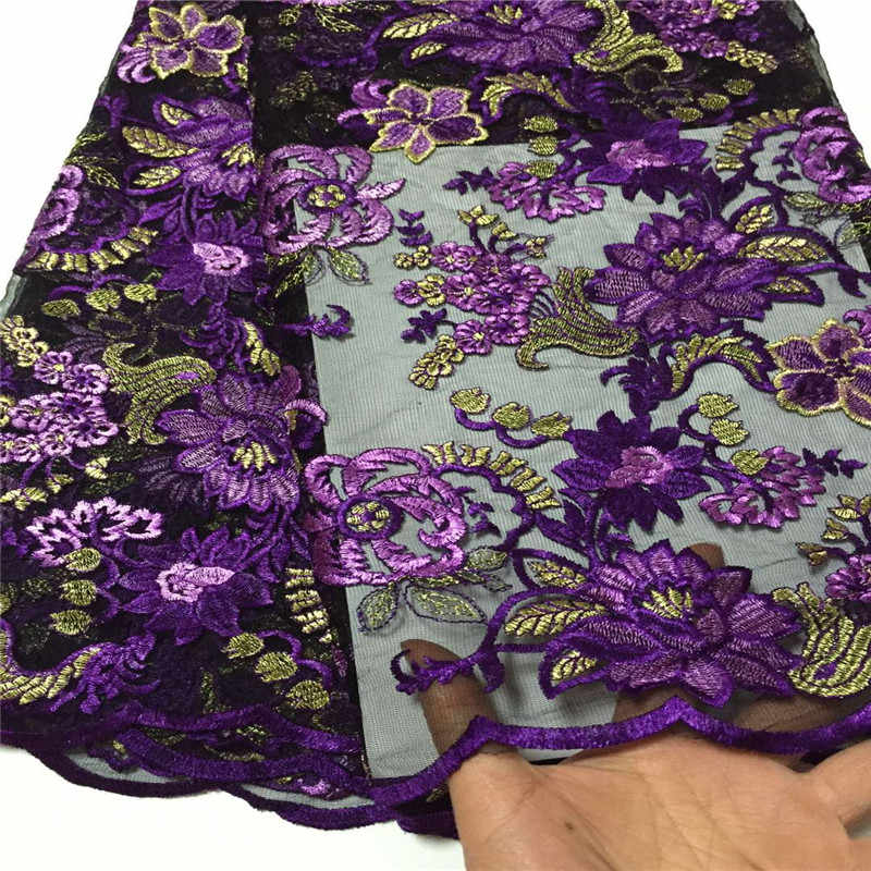 Cassiel Net Lace Fabric With Flower African Lace Fabric Purple Embroidery Fabric For Dress Party Nigeria Lace Fabric
