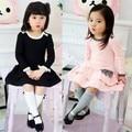 В возрасте 2 - 8 весна необычные платье девушки торт платье ну вечеринку платье твердый хлопка с бантом платья 2016 корейский стиль милый розовый цвета sweety