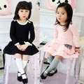 Aged 2-8 spring Fancy Dress Girls Cake Dress Party Dress solid cotton bow Dresses 2016 Korean Style cute pink Colors sweety