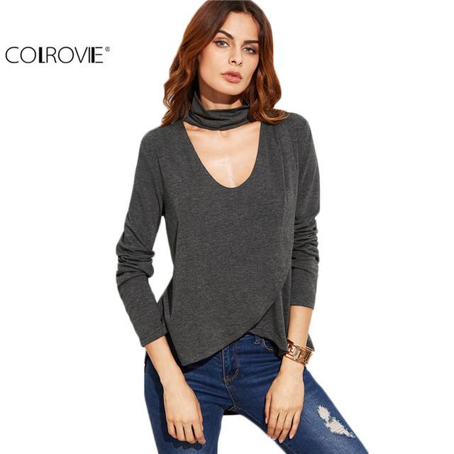 Colrovie clothing top de cuello alto de manga larga corea moda mujer otoño tops gris jaspeado cuello del ahogador superposición de camisetas