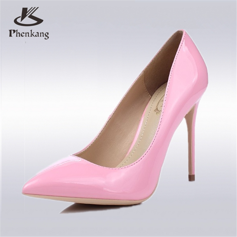Phenkang New superfine 12CM high heels pumps <font><b>patent</b></font> leather nightclub <font><b>nude</b></font> color shallow mouth OL pointed wedding shoes US <font><b>9</b></font>