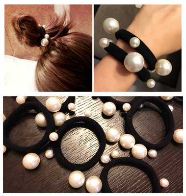 2Pcs/Lot Fashion Pearl Elastic Hair Rubber Band Hair Accessories For Women Girls Ponytail Holder Hair Ties Headdress Headbands