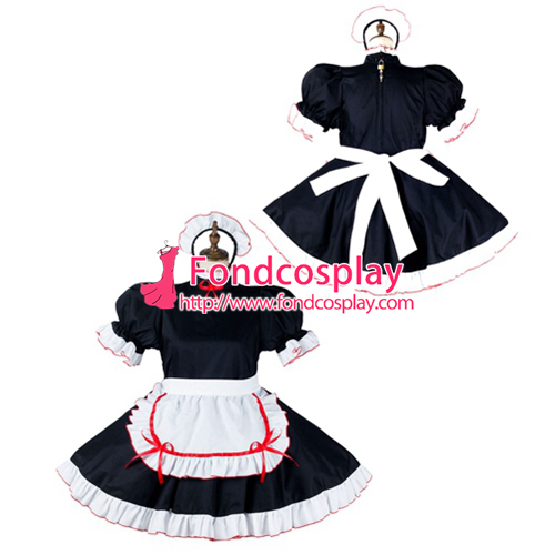 Sissy maid cotton dress lockable Uniform cosplay costume Tailor-made[G2154]