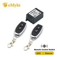 RF AC 220V 1000W 1 Channel One Relay Wireless Learning Remote Control Switch Black Color Transmitter
