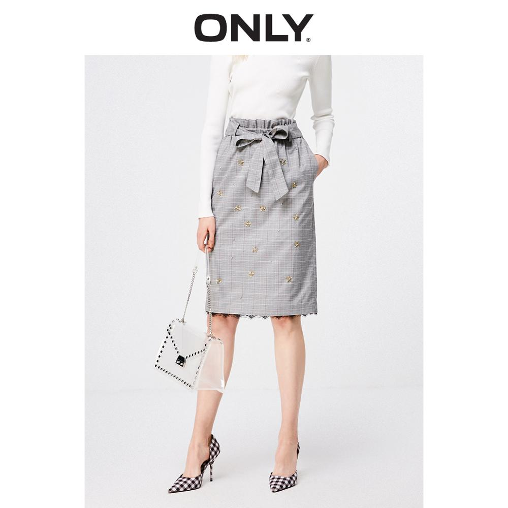 ONLY Summer Lace Splice Beaded High-rise Lace-up Checked Skirt  119116530