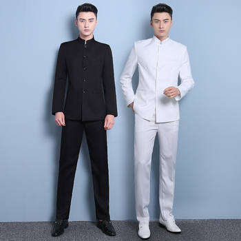 Male chinese tunic suit mens slim stand collar student set youth loading chinese style suit national clothing summer black white