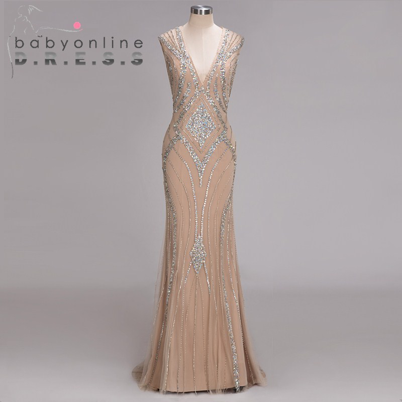 Real Images Sexy Deep V Neck   Prom     Dresses   Long 2019 Elegant Backless Beading Crystals Reflective   Dress   Special Occassion   Dress