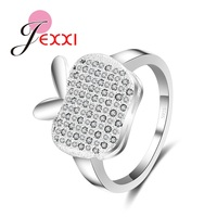 JEXXI Top Quality 925 Stamp Sterling Silver Sweet Apple Rings Women New Year Gift Wedding Jewelry