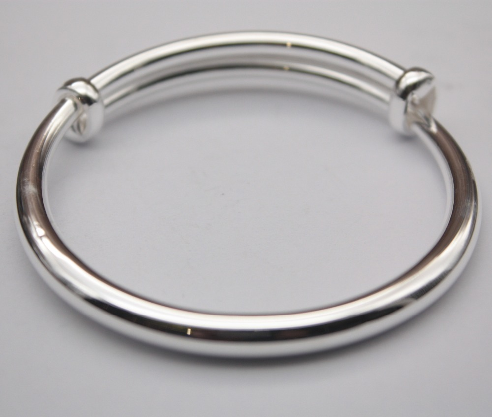 Pure Sterling Silver S999 Bangles For Women Smooth Fashion Adjustable Bracelets & Bangles 54-60mm Female Ladies Jewelry StudentPure Sterling Silver S999 Bangles For Women Smooth Fashion Adjustable Bracelets & Bangles 54-60mm Female Ladies Jewelry Student