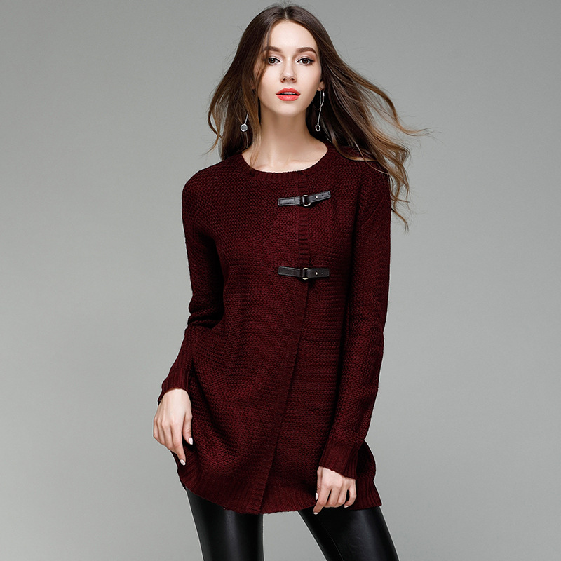 JOGTUME Herbst Winter Strickpullover für Damen Mode Leder Schnalle - Damenbekleidung - Foto 5
