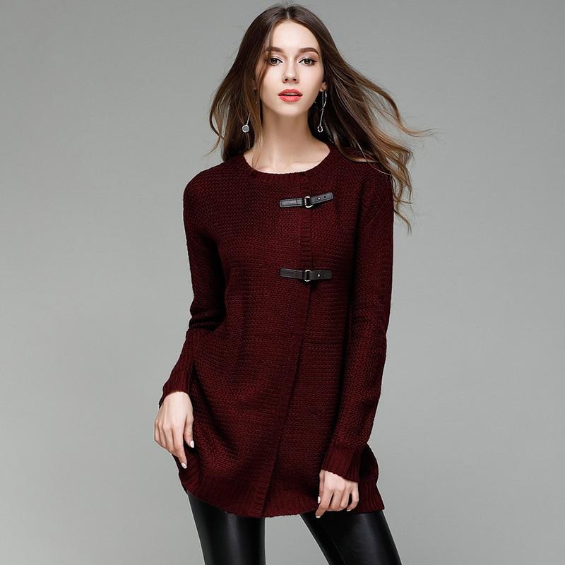 JOGTUME jesenski zimski pleteni džemper za žene Modna kožna kopča - Ženska odjeća - Foto 5