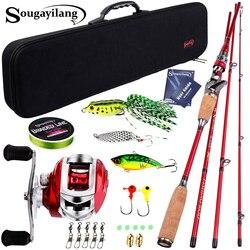 Sougayilang Baitcsting Asta Kit Completo 4 Sezione di Alimentazione di 3m In Fibra di Carbonio Casting Reel Set 100M Linea di Pesca Esche Ganci combo Pesca
