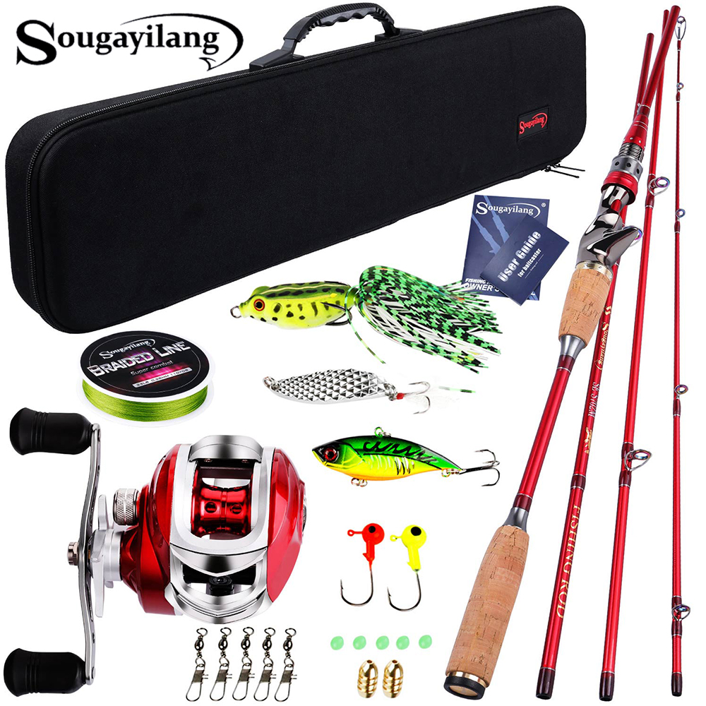 Sougayilang Baitcsting Rod Full Kit 4 Section M Power Carbon Fiber Casting Reel Set 100M Fishing Line Lures Hooks Combo Pesca