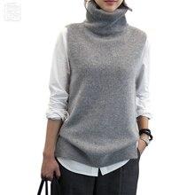 Jersey de lana de Angora tejido para mujer, chaleco de cuello alto de lana de Cachemira de conejo, abertura lateral, suéter de lana para mujer, chaleco sin mangas, nueva moda