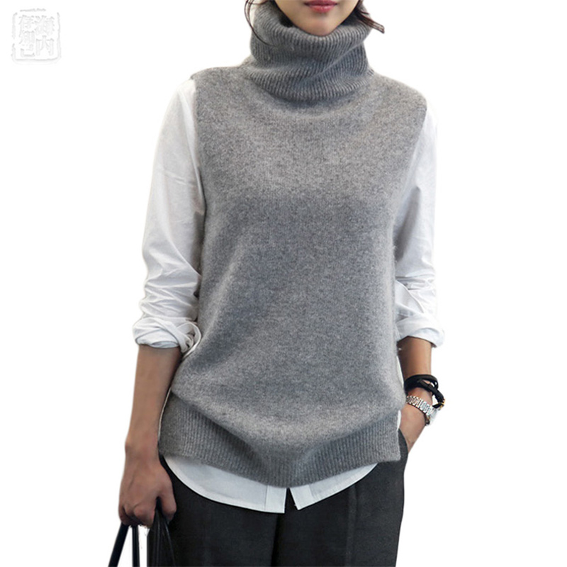 Women's Knitted Angora Rabbit Cashmere Wool Turtleneck Vest Side Slit Winter Female Wool Sweater Sleeveless Waistcoat New Vogue