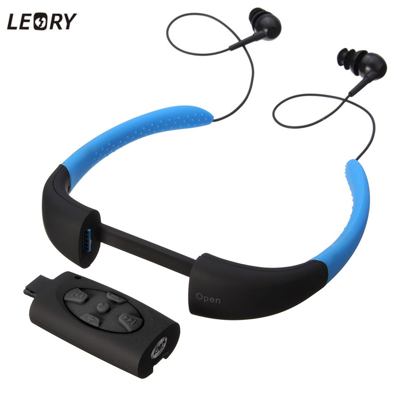 LEORY 4 Colors IPX8 Waterproof MP3 Player Headset Swimming Surfing SPA Diving Sports MP3 Player FM Radio Built in 4GB Memory ks 509 mp3 player stereo headset headphones w tf card slot fm black