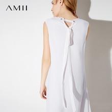 Amii Women Dress 2018 Summer Office Lady Chiffon Straps V Neck Sleeveless Plus Size Knee Length Dresses