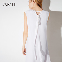 Amii Women Dress 2018 Summer Office Lady Chiffon Straps V Neck Sleeveless Plus Size Knee Length Dresses
